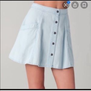 Free people Chambray Skater Skirt Button front 4